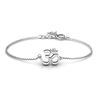 Om - Sound of Universe Personalised Bracelet with Round Stone  - AMAZINGNECKLACE.COM