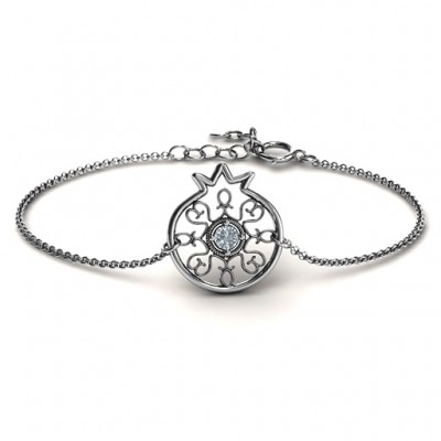 Personalised Pomegranate with Filigree Bracelet - AMAZINGNECKLACE.COM