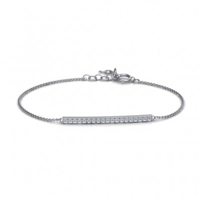 Sterling Silver Beaming Bar Personalised Bracelet With Cubic Zirconia Accent Stones  - AMAZINGNECKLACE.COM
