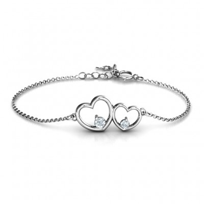 Sterling Silver Double Heart With Two Stones Personalised Bracelet  - AMAZINGNECKLACE.COM