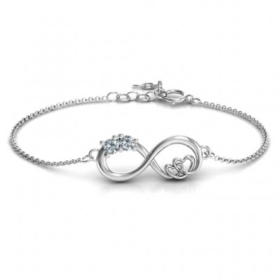 Sterling Silver Double the Love Infinity Personalised Bracelet - AMAZINGNECKLACE.COM