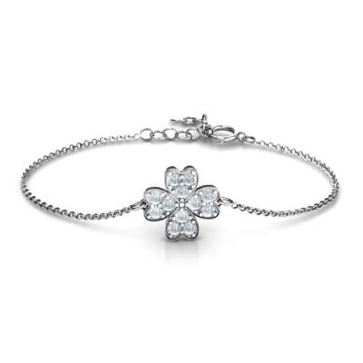Sterling Silver Four Leaf Heart Clover Personalised Bracelet - AMAZINGNECKLACE.COM