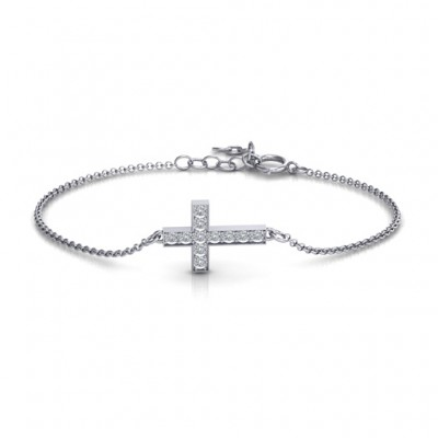 Sterling Silver Shimmering Cross Personalised Bracelet With Cubic Zirconia Accent Stones  - AMAZINGNECKLACE.COM