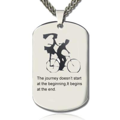 Couple Bicycle Dog Tag Name Personalised Necklace - AMAZINGNECKLACE.COM