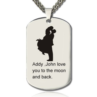 Faill In Love Couple Name Dog Tag Personalised Necklace - AMAZINGNECKLACE.COM