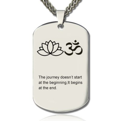 Yoga Theme,Lotus Flower Name Dog Tag Personalised Necklace - AMAZINGNECKLACE.COM