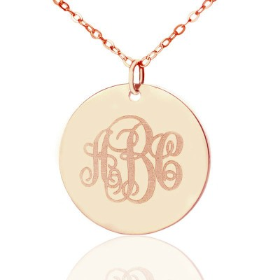 Solid Rose Gold Vine Font Disc Engraved Monogram Personalised Necklace - AMAZINGNECKLACE.COM