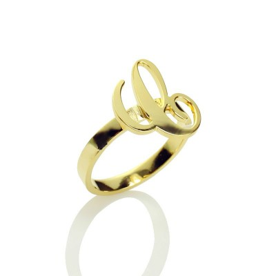 Personalised Carrie Initial Letter Ring 18ct Gold Plated - AMAZINGNECKLACE.COM