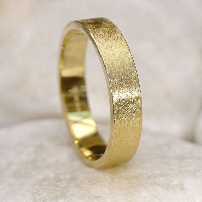 Mens Wedding Personalised Ring In 18ct Gold, Urban Finish - AMAZINGNECKLACE.COM
