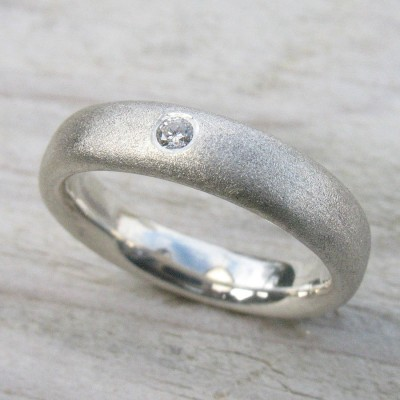 Handmade Frosted Silver Diamond Wedding Personalised Rings - AMAZINGNECKLACE.COM