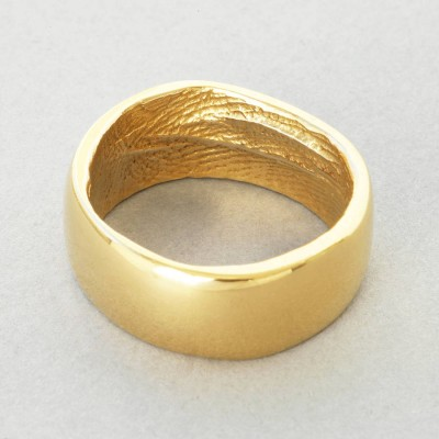 18ct Yellow Gold Bespoke Fingerprint Personalised Ring - AMAZINGNECKLACE.COM
