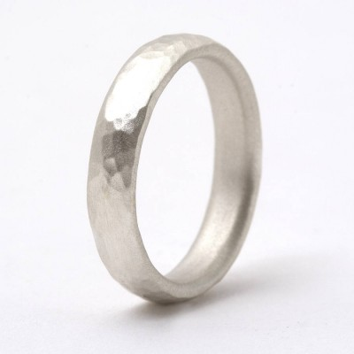 Thin Sterling Silver Hammered Personalised Ring - AMAZINGNECKLACE.COM