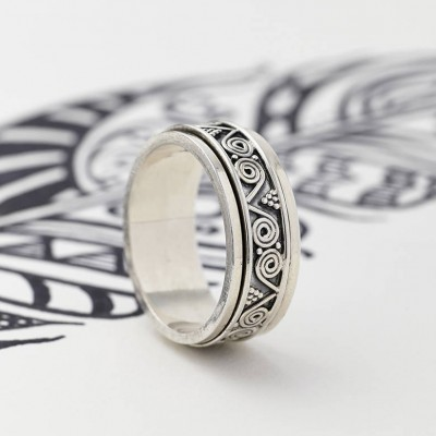 Mens Aztec Silver Spinning Personalised Ring - AMAZINGNECKLACE.COM