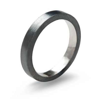 Black Sterling Silver Personalised Ring, 3mm Flat Band Oxidised - AMAZINGNECKLACE.COM