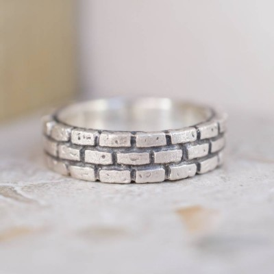 Brick Silver Personalised Ring - AMAZINGNECKLACE.COM