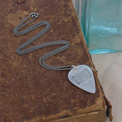 British Flag Stamp Silver Plectrum Personalised Necklace - AMAZINGNECKLACE.COM