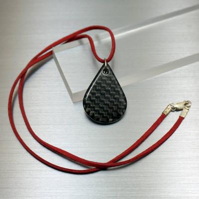 Carbon Fibre Tear Drop Pendant Personalised Necklace - AMAZINGNECKLACE.COM