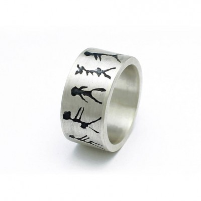 Capivara Cave Art Sterling Silver Band Personalised Ring - AMAZINGNECKLACE.COM