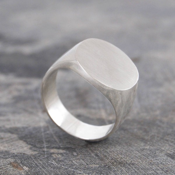 Mens Solid Silver/Gold Circular Signet Personalised Ring - AMAZINGNECKLACE.COM