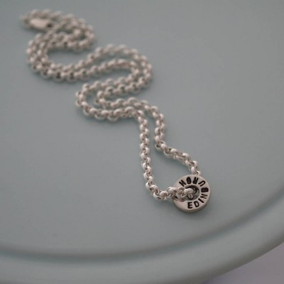 Chunky Silver Washer Personalised Necklace - AMAZINGNECKLACE.COM