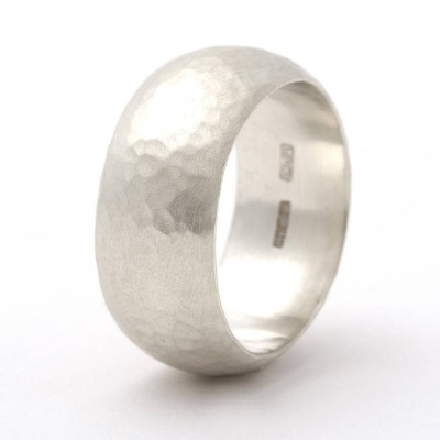 Chunky Sterling Silver Rounded Hammered Personalised Ring - AMAZINGNECKLACE.COM