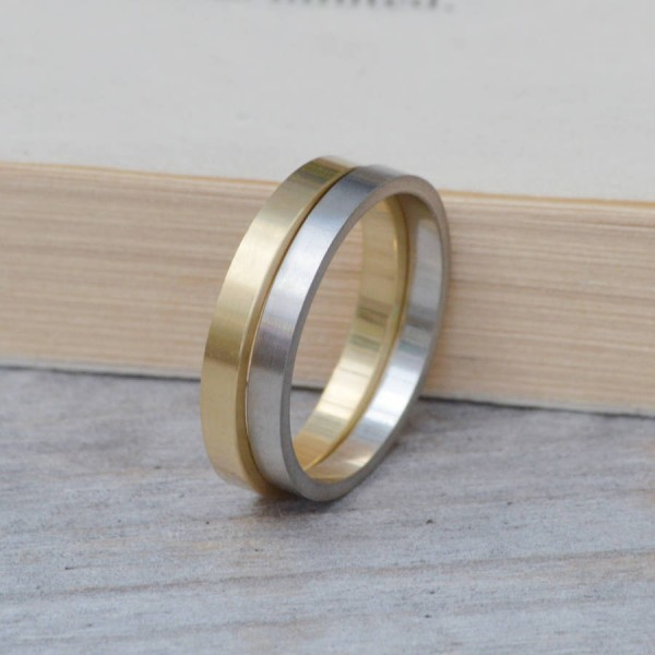 2mm Flat Wedding Band Wedding Personalised Ring Stackable - AMAZINGNECKLACE.COM