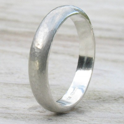 Handmade Sterling Silver Hammered Personalised Ring - AMAZINGNECKLACE.COM