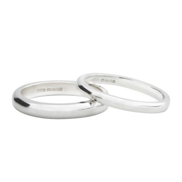 Sterling Silver D Shape Wedding Band - AMAZINGNECKLACE.COM