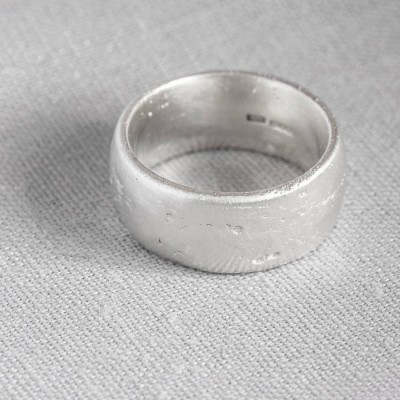 Sterling Silver Domed Sand Cast Wedding Personalised Ring - AMAZINGNECKLACE.COM