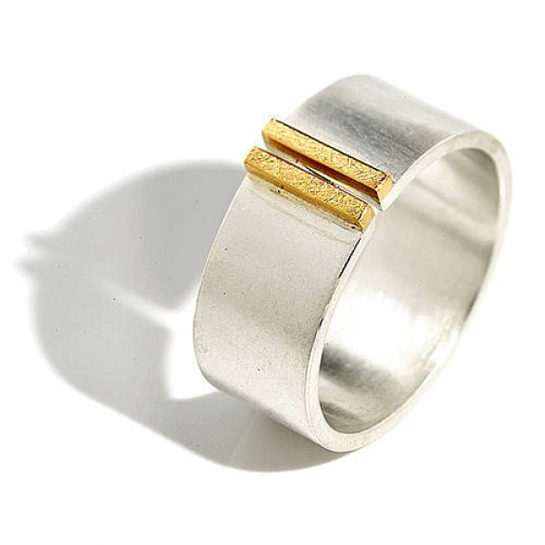 Silver And Gold Double Bar Wide Band Personalised Ring - AMAZINGNECKLACE.COM
