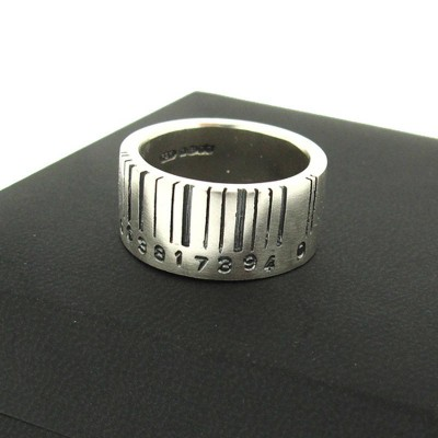Extra Wide Silver Barcode Personalised Ring - AMAZINGNECKLACE.COM