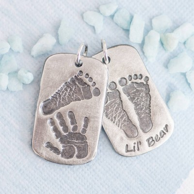 Footprint Handprint Personalised Mens Dog Tag Necklace - Two Pendants - AMAZINGNECKLACE.COM