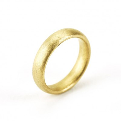 Gents Soft Pebble Wedding Personalised Ring 18ct Gold - AMAZINGNECKLACE.COM