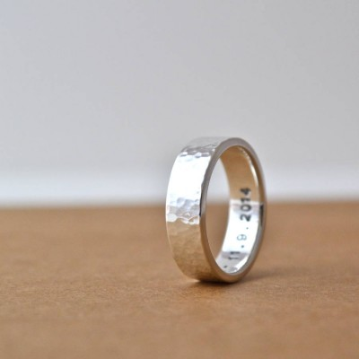 Hammered Silver Hidden Message Personalised Ring - AMAZINGNECKLACE.COM