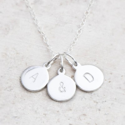 Hand Stamped Silver Personalised Charm Necklace - AMAZINGNECKLACE.COM