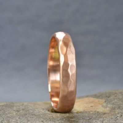 Handmade 18ct Rose Gold Hammered Wedding Personalised Ring - AMAZINGNECKLACE.COM