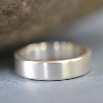 Handmade Satin Silver Rectangular Wedding Personalised Ring - AMAZINGNECKLACE.COM