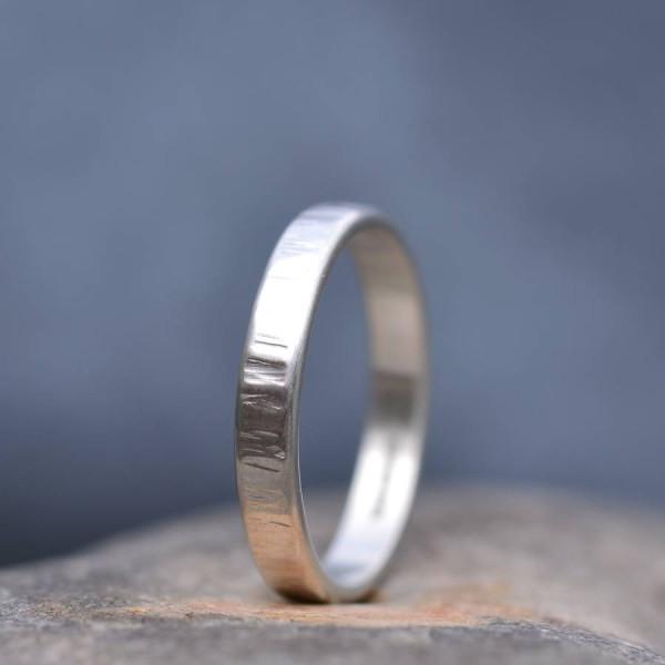 Handmade Silver Rippled Wedding Personalised Ring - AMAZINGNECKLACE.COM