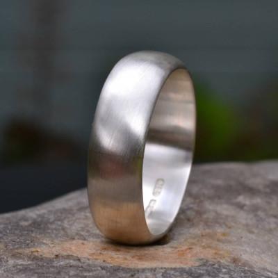 Handmade Silver Satin Finish Wedding Personalised Ring - AMAZINGNECKLACE.COM