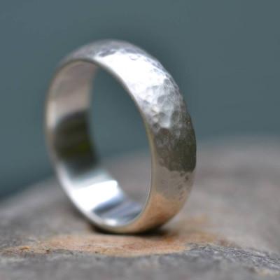 Handmade Silver Wedding Personalised Ring Lightly Hammered Finish - AMAZINGNECKLACE.COM