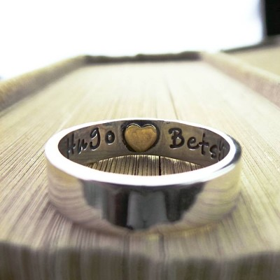 Heart Imprint Personalised Ring - AMAZINGNECKLACE.COM