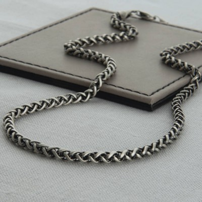 Heavy Sterling Silver Detailed Chain Personalised Necklace - AMAZINGNECKLACE.COM