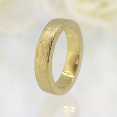 His And Hers Hammered Wedding Personalised Ring 18ct Gold Set - AMAZINGNECKLACE.COM