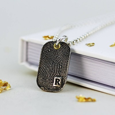 Inked Fingerprint Dog Tag Personalised Necklace - AMAZINGNECKLACE.COM