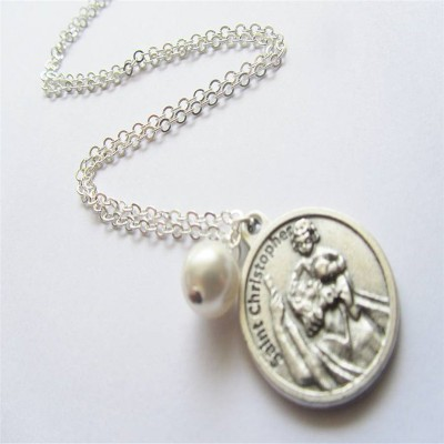 Large St Christopher Charm Personalised Necklace - AMAZINGNECKLACE.COM