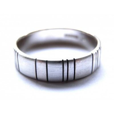 Mens Silver Barcode Oxidized Personalised Ring - AMAZINGNECKLACE.COM