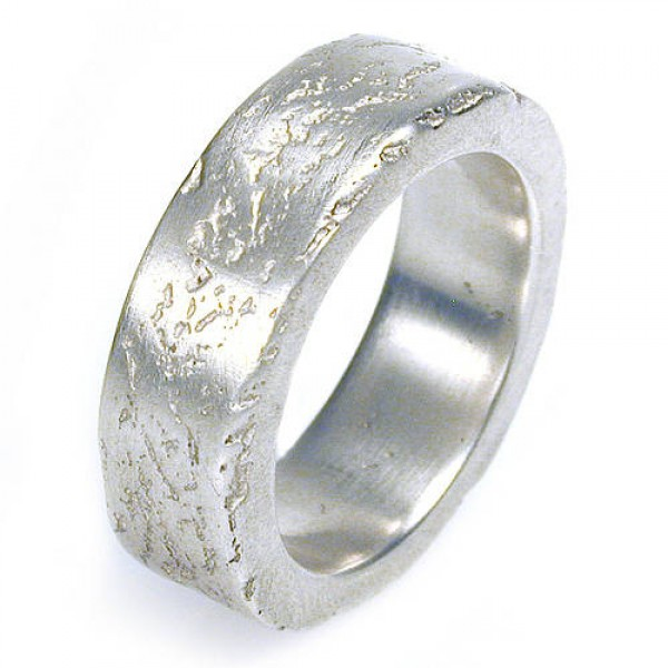 Medium Silver Concrete Personalised Ring - AMAZINGNECKLACE.COM