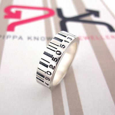 Medium Silver Barcode Personalised Ring - AMAZINGNECKLACE.COM