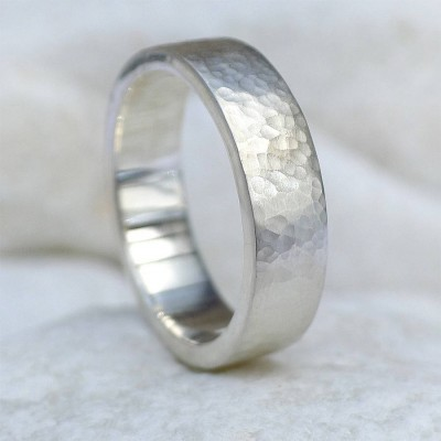 Mens Hammered Personalised Ring, Silver Or 18ct Gold - AMAZINGNECKLACE.COM