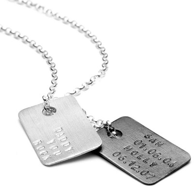 Mens Personalised Silver Tag Necklace - AMAZINGNECKLACE.COM